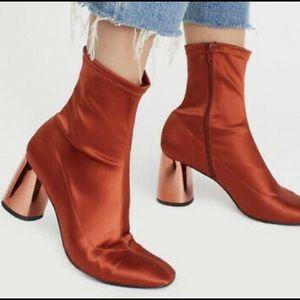 Free People Rust Satin Spectrum Talla Sock Boots
